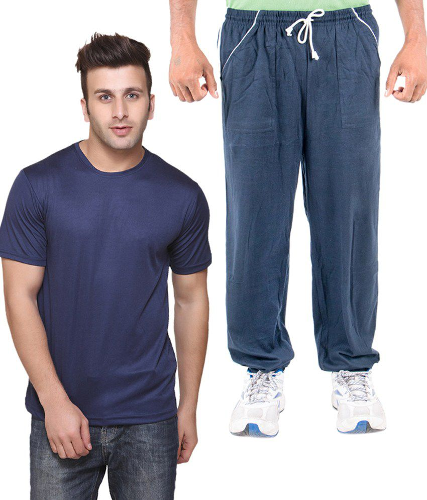 Funky Guys Blue Cotton T-shirt With Trackpant
