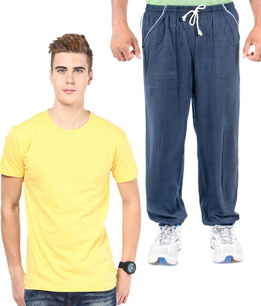 Funky Guys Yellow Cotton T-shirt With Trackpant