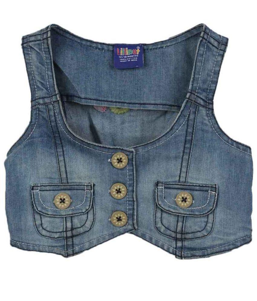 Lilliput Blue Sleeveless Jacket Without Hood