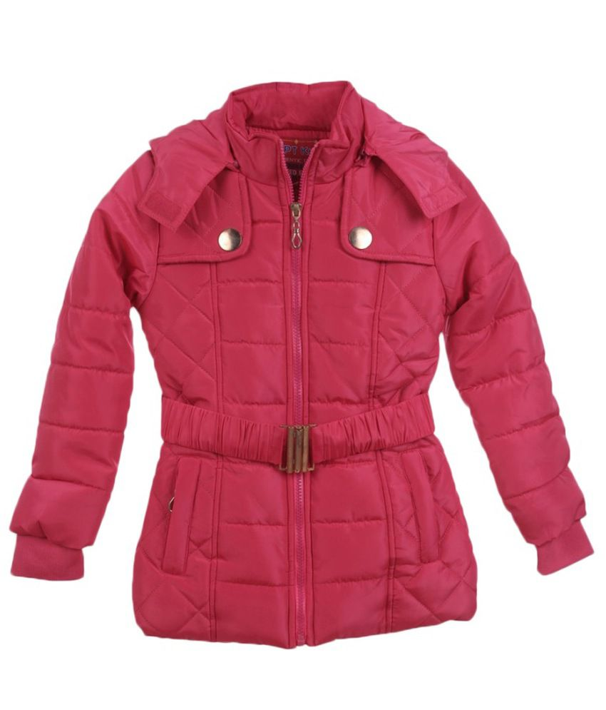 Lilliput Pink Polyster Full Sleeve Jacket With Hood