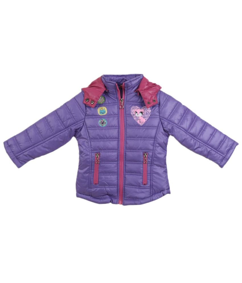 Lilliput Purple Polyster Full Sleeve Jacket With Hood
