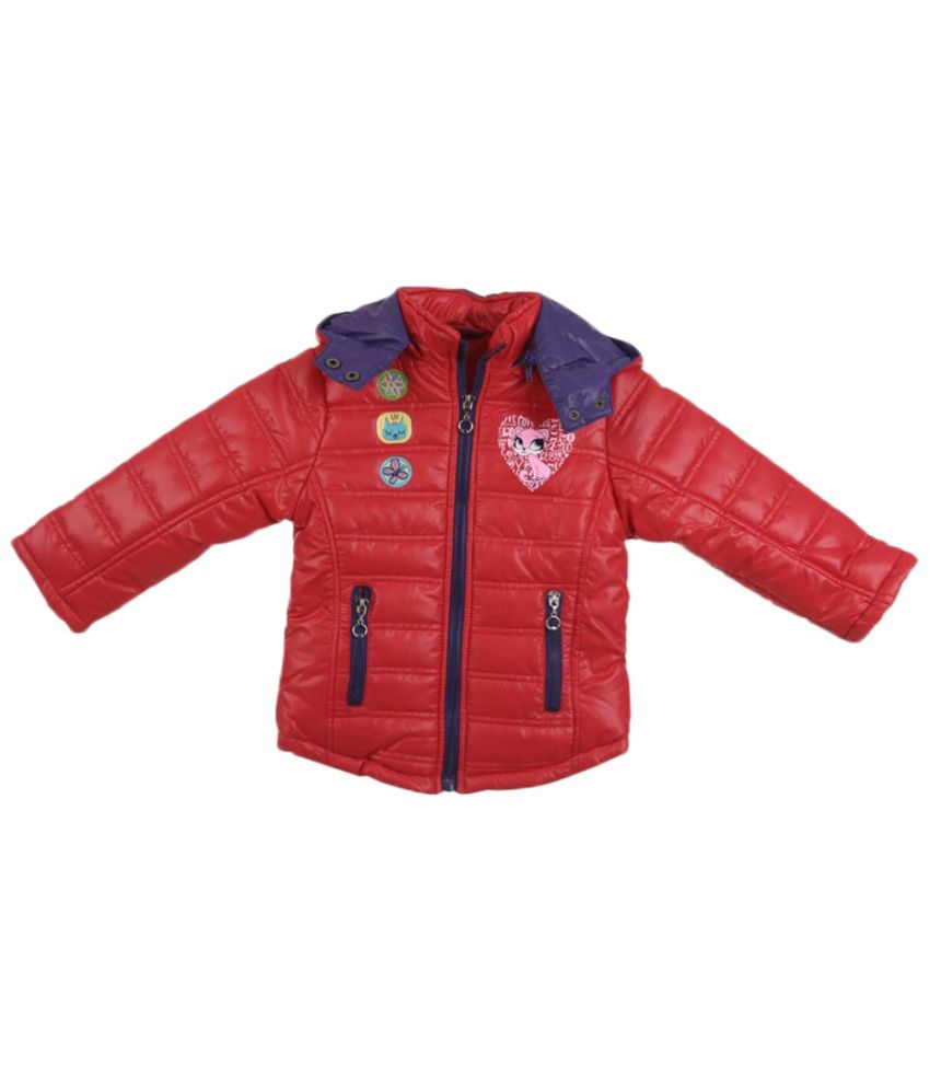 Lilliput Red Polyster Full Sleeve Jacket With Hood