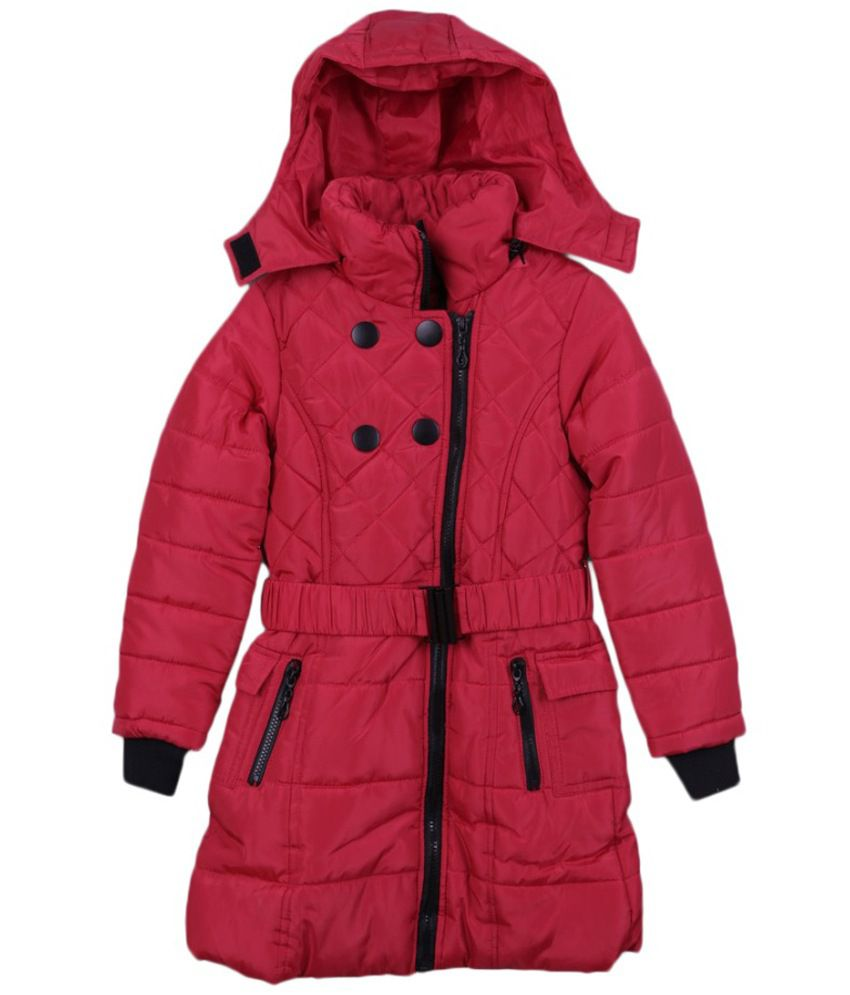 Lilliput Red Polyster Viscose Full Sleeve Jacket With Hood