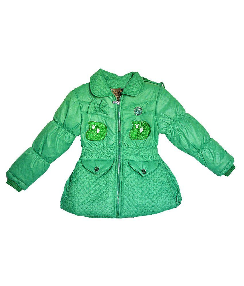 London Girl Green Little Bow Hooded Jacket for Girls