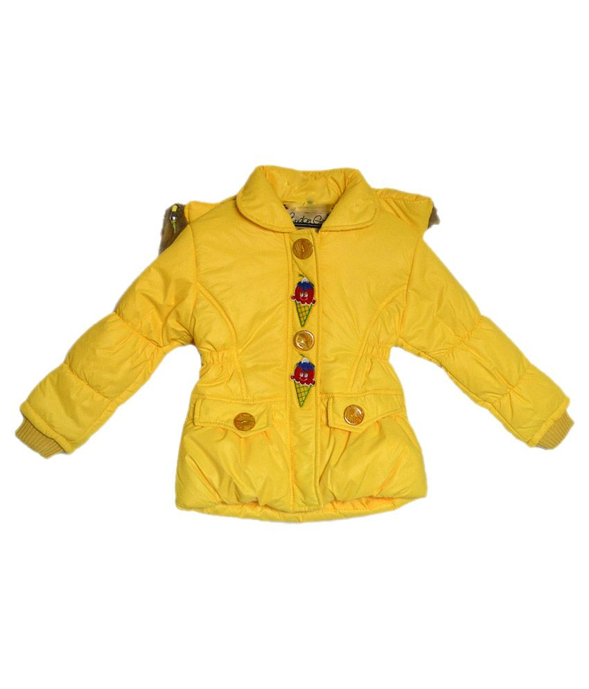 London Girl Yellow Ice Cone Hooded Jacket For Girls