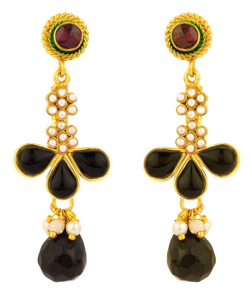 Rajwada Arts Black Toned Pearl Contemporary Dangle Earrings