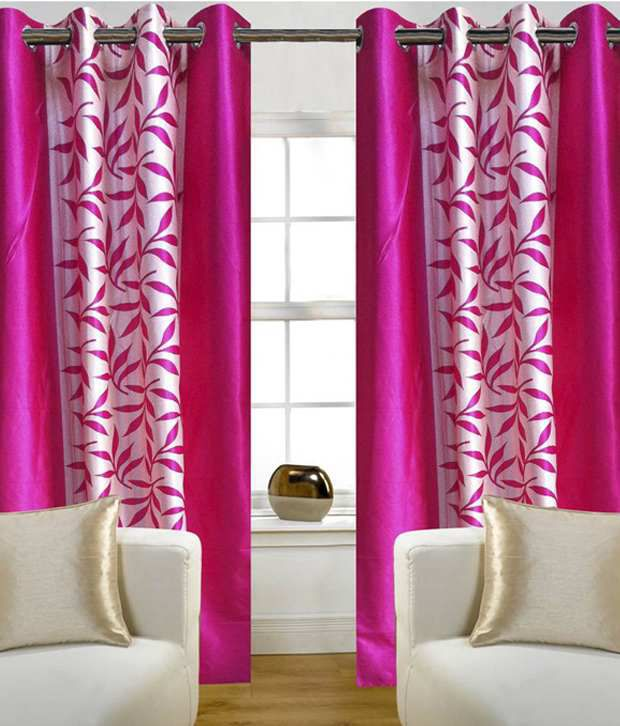 Tanishka Fabs Set of 2 Door Eyelet Curtains Floral Multi Color
