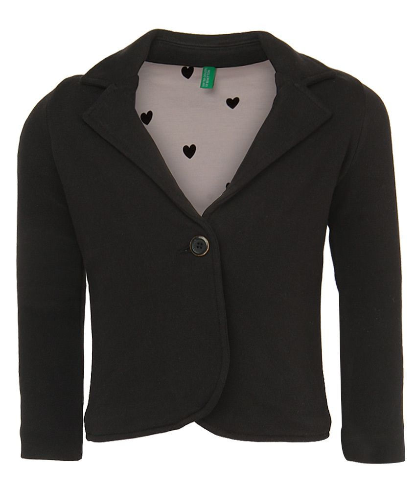 United Colors Of Benetton Black Buttoned Jacket