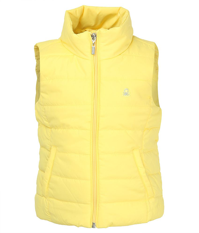 United Colors Of Benetton Yellow Polyester Bomber Jacket