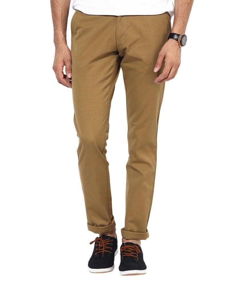BUKKL  Slim Fit Khakhi Cotton Trouser for men