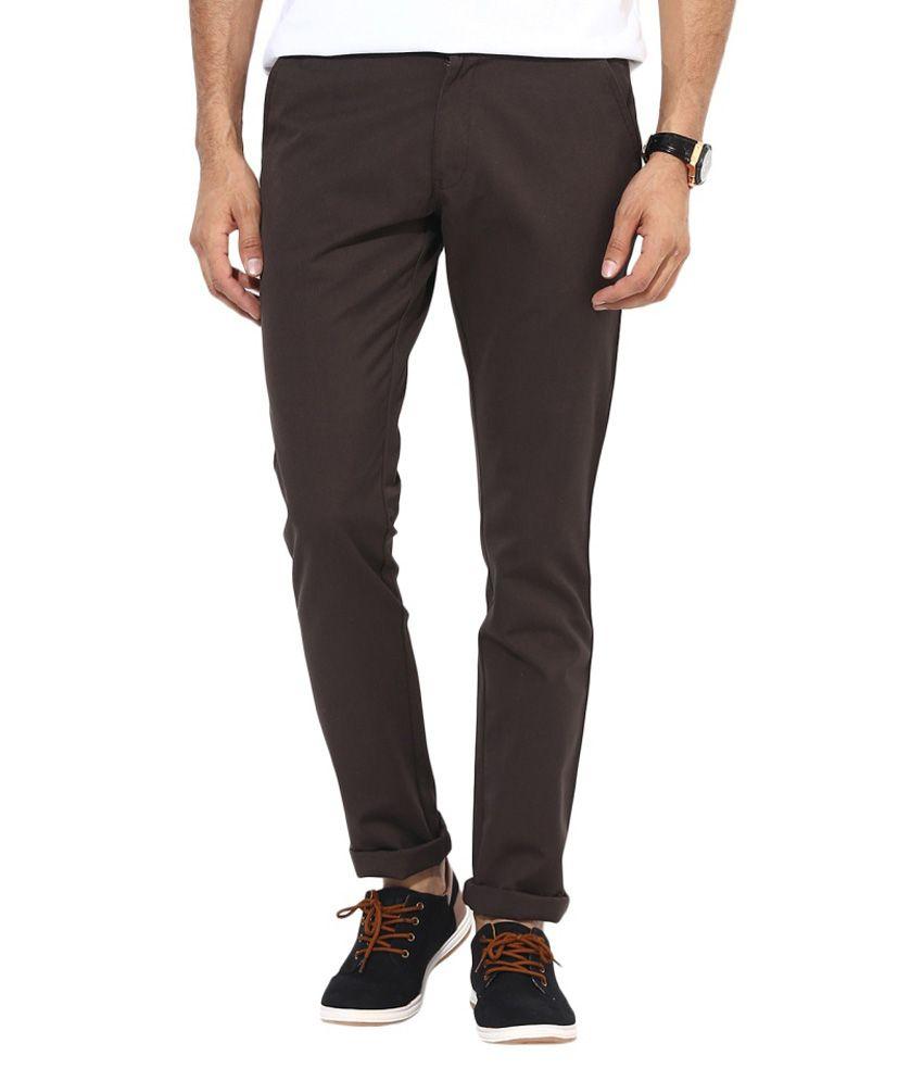 Bukkl Brown Slim Fit Coffee Cotton Trouser for men