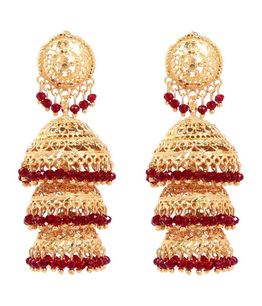 Goldnera Red & Golden Alloy Jhumkis