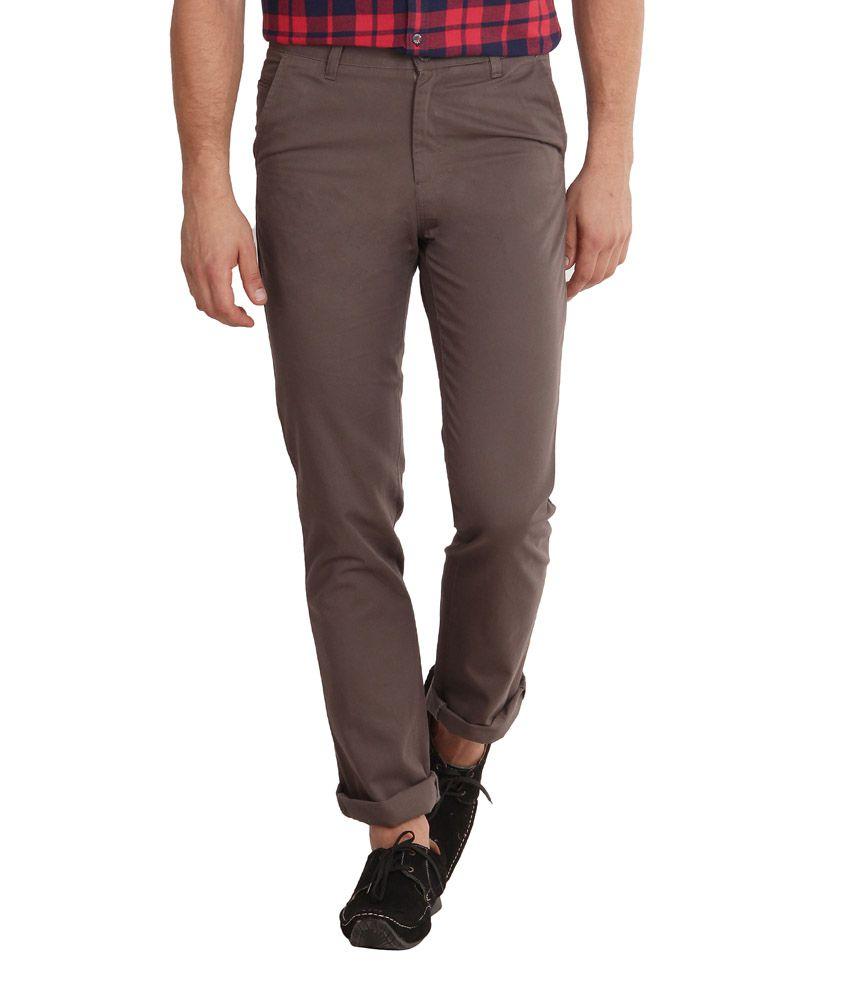 Sting Brown Regular Fit Casual Flat Trouser