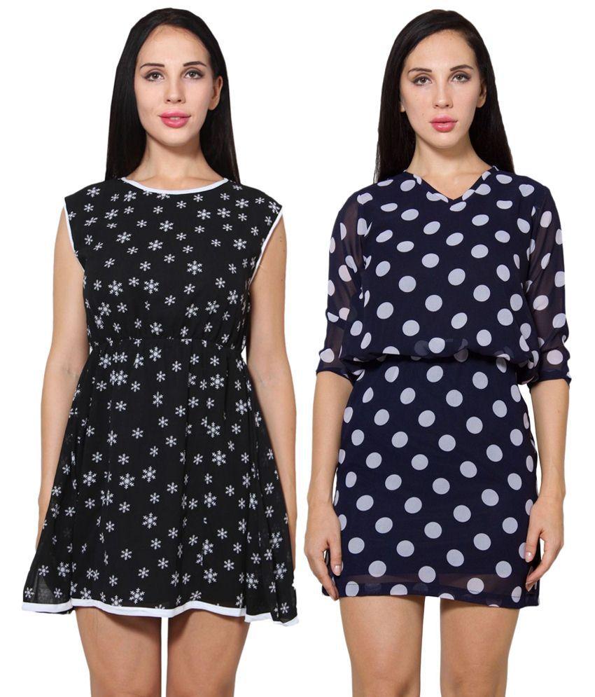 Wintage Pack of 2 Black & Navy Blue Georgette Monochrome Dresses
