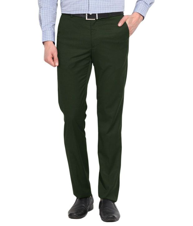 Ad And Av Green Regular Fit Casual Flat Trouser