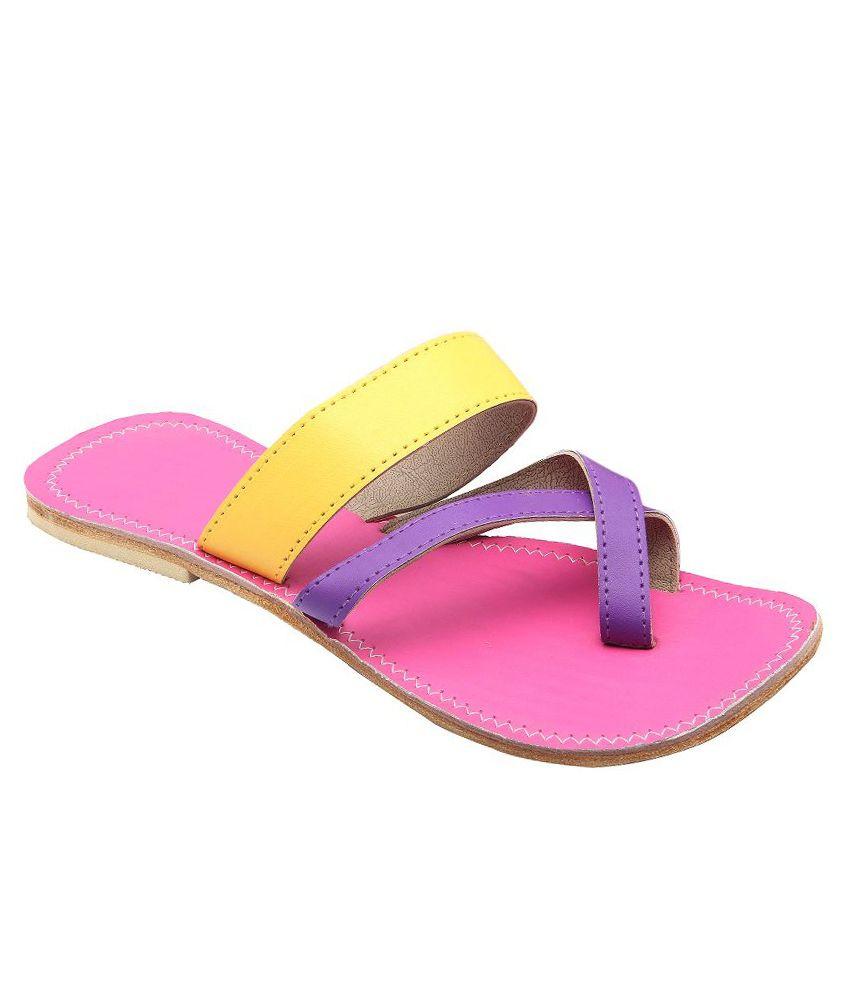 E-Handicrafts Multicoloured Flat Slip Ons