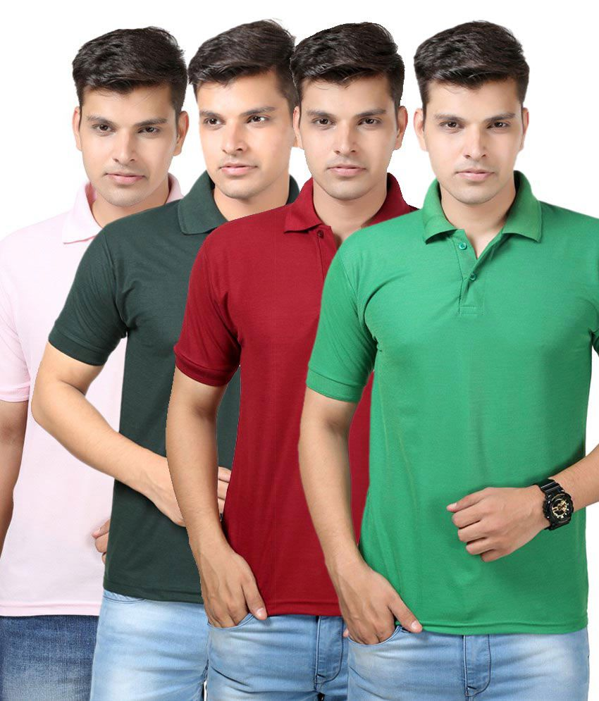 Etoffe Multicolour Cotton Blend T-Shirt Combo Of 4