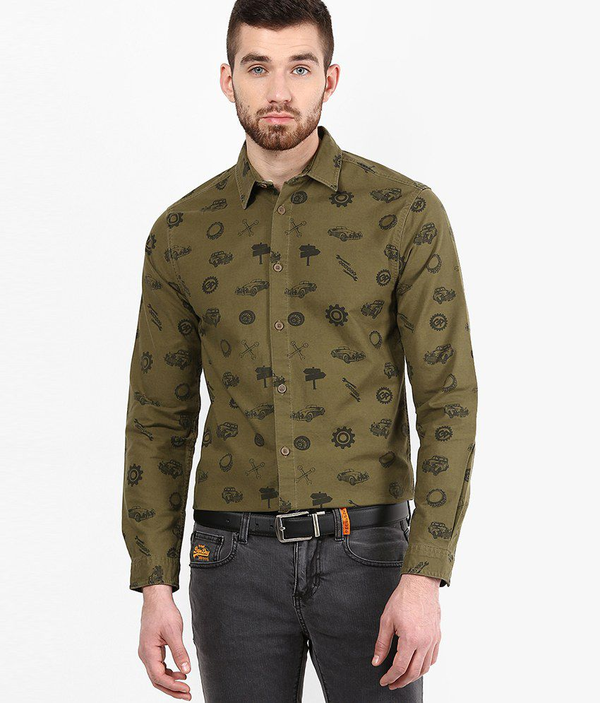 d9a344d18 Jack & Jones Olive Green Slim Fit Casual Shirt - Buy Jack & Jones Olive  Green Slim Fit Casual Shirt Online at Best Prices in India on Snapdeal