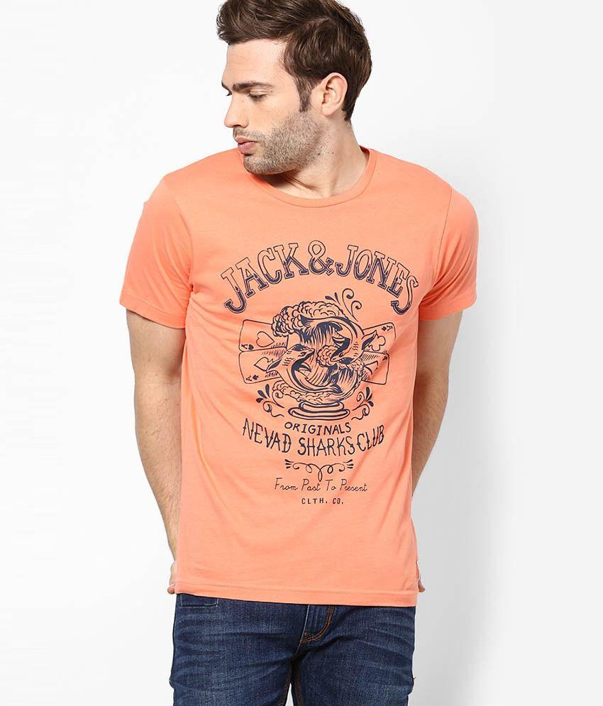 Jack & Jones Orange Printed Round Neck T-Shirt