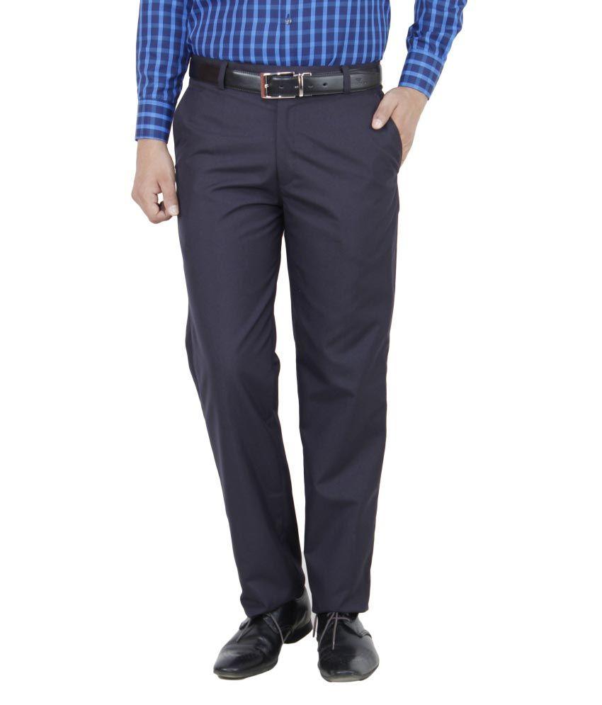 Ketley Blue Regular Fit Formal Pleated Trouser
