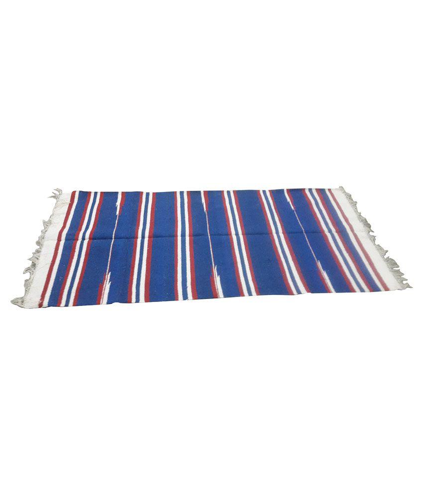 Blue Cotton Rugs Khadi Gramudhyog