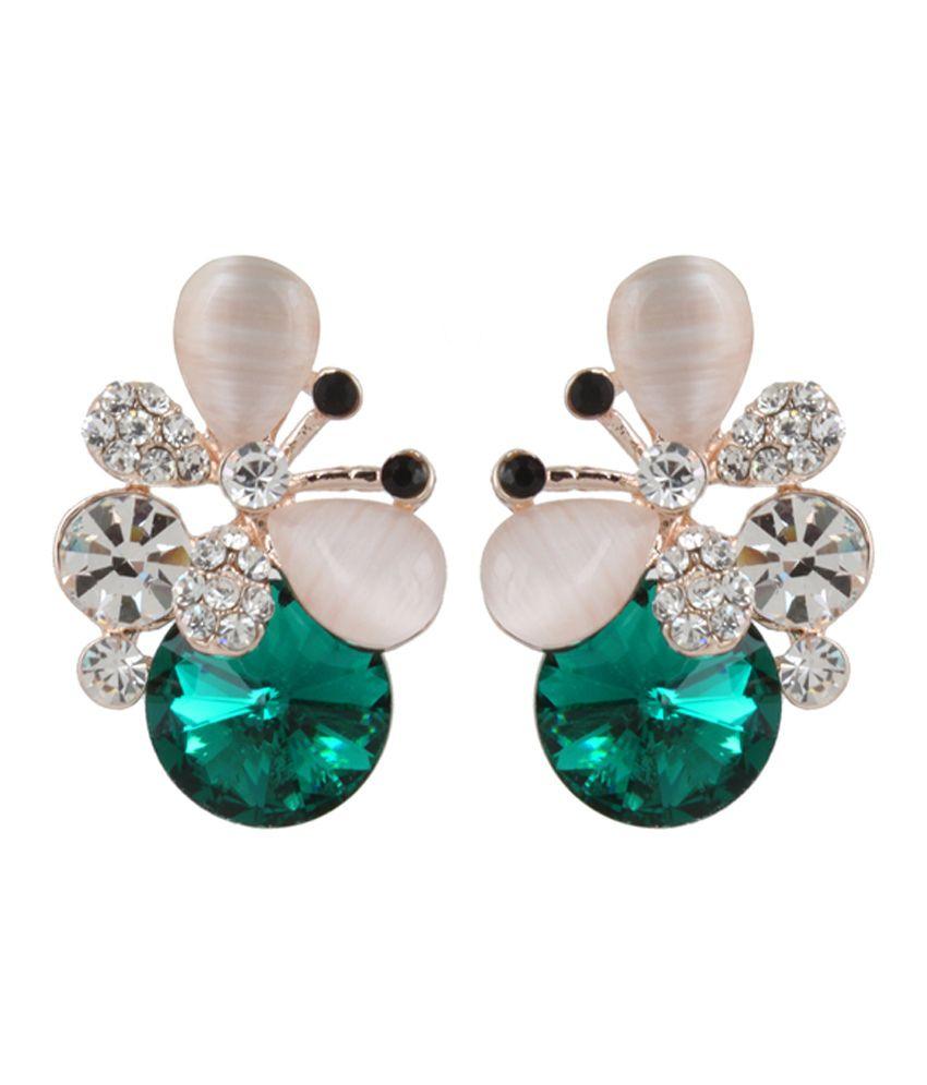 Snyter Designer Green Stone Earringss
