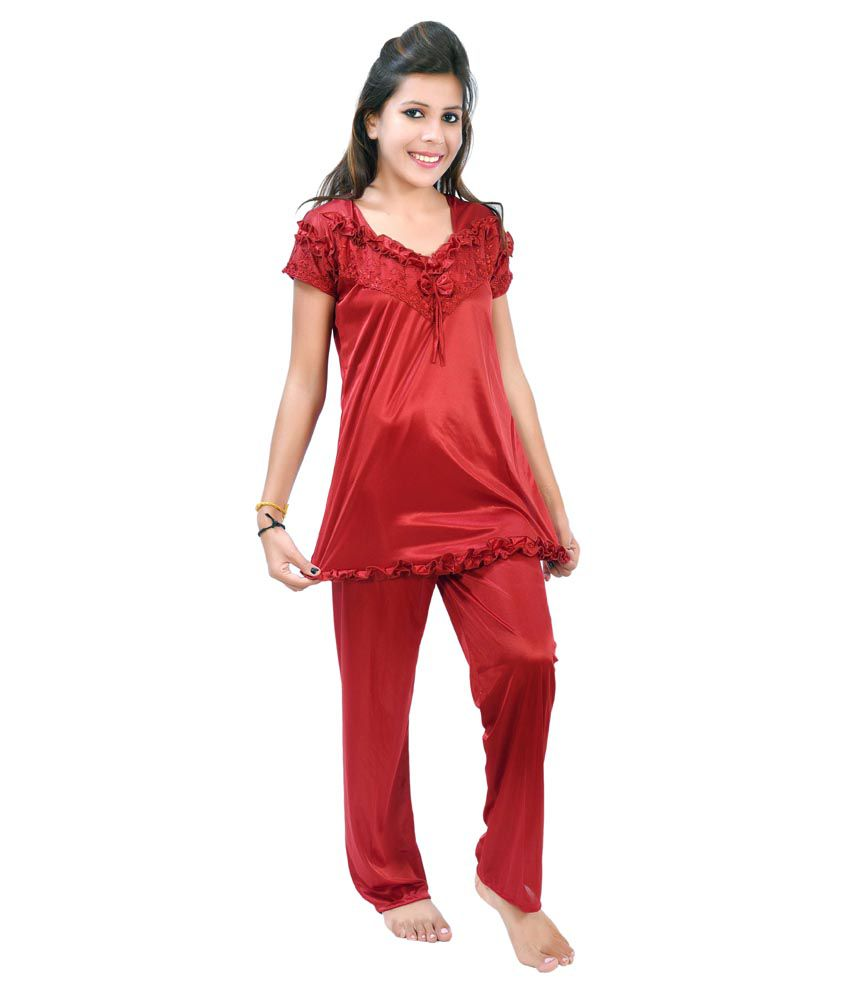 Fashion Zilla Maroon Satin Nightsuit Sets Pack of 2 6761798b8