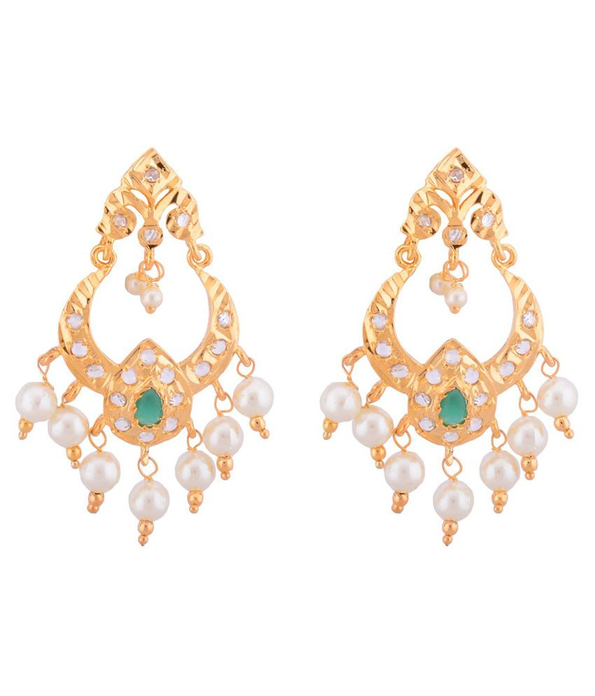 JNB Jewellers Antique Chandbali Earrings with Emerald work and Pearls drop