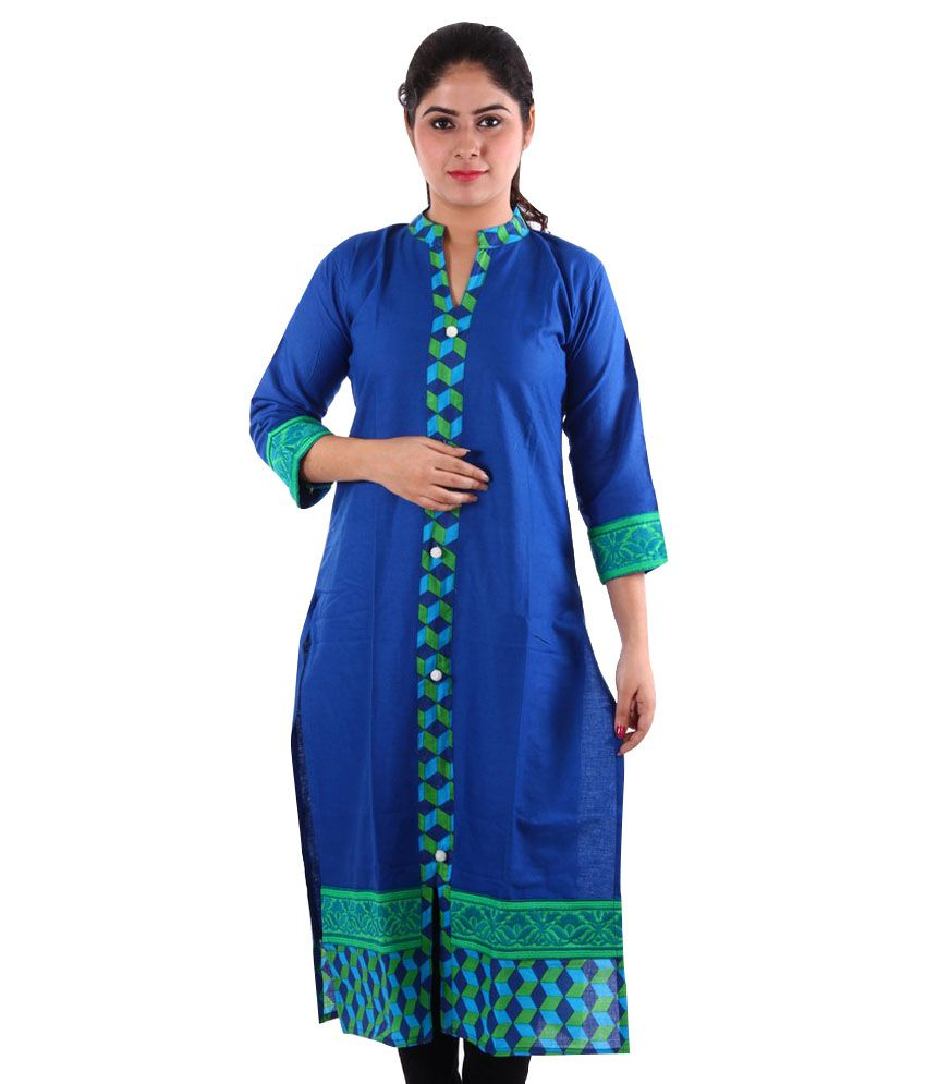 Rag Bronze Blue Cotton Kurti