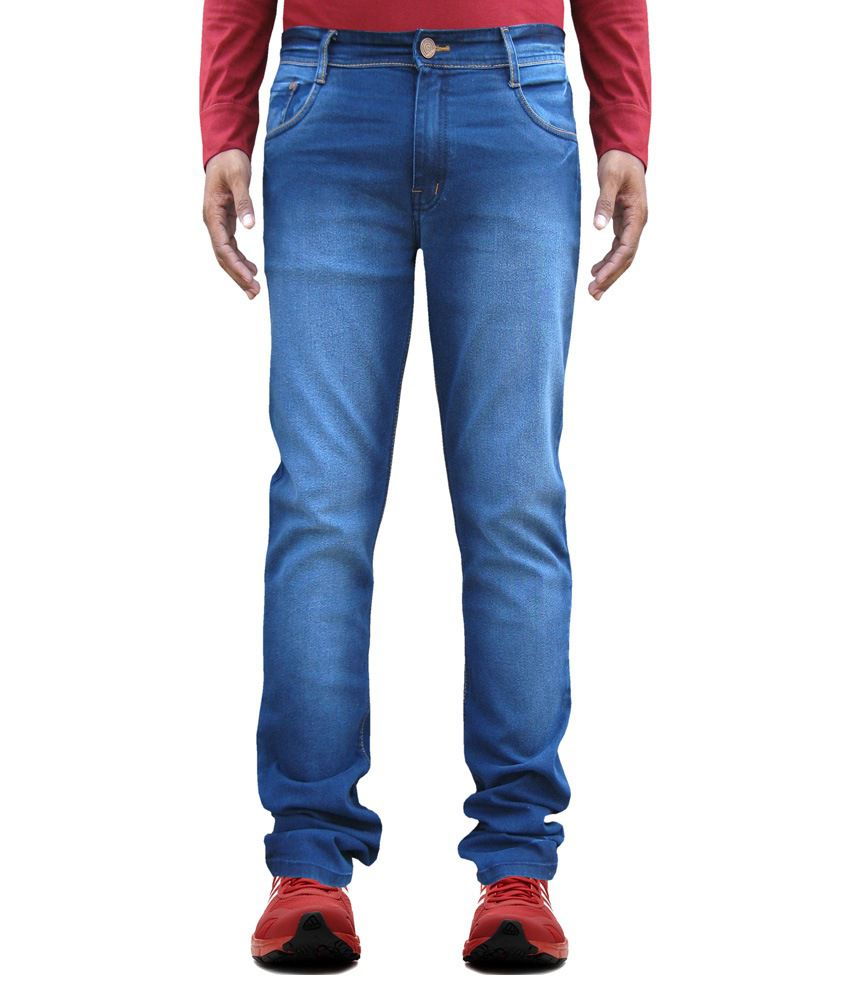 White Pelican Blue Stretchable Slim fit Jeans for Men.