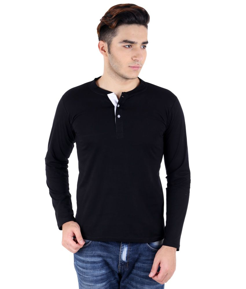Big Idea Smart Black Cotton Henley T-shirt