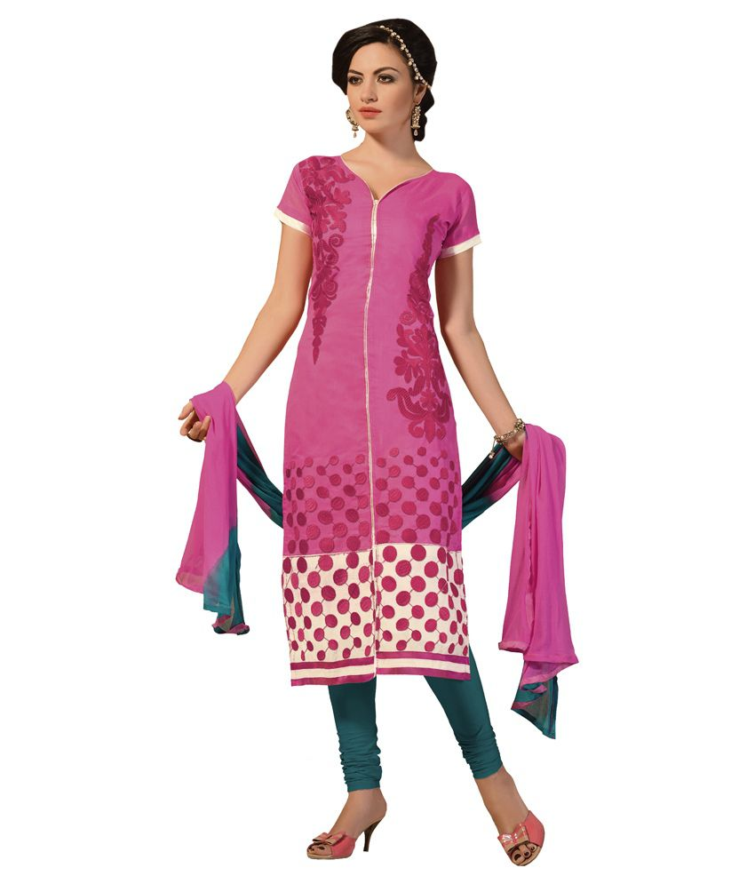 Trendz Apparels White and Pink Chanderi Unstitched Dress Material