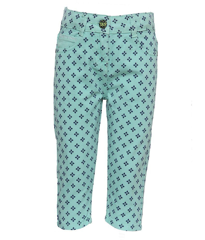 Tales & Stories Green Denim Capris