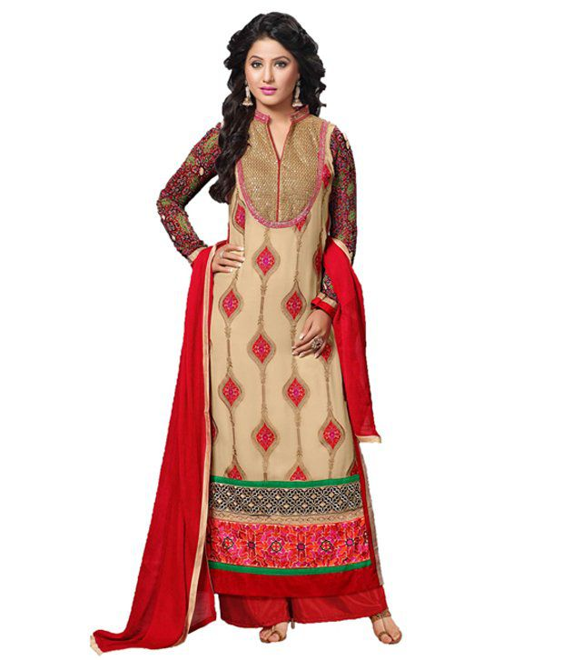 Indian Wear Online Beige Georgette Straight Semi Stitched Dress Material