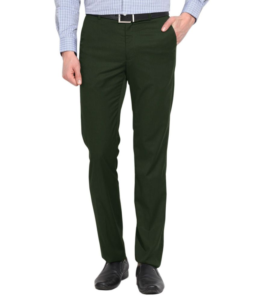 AD & AV Green Regular Fit Formal Flat Trousers