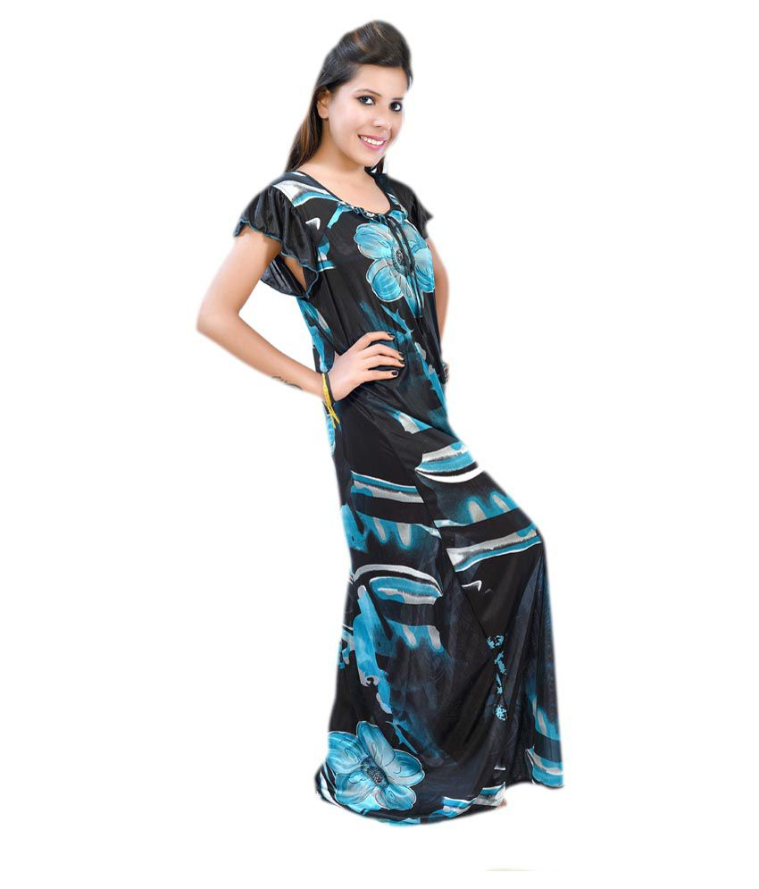 Buy Fashion Zilla Sky Blue   Black Designer Printed Night Gown Set Of 1  Online at Best Prices in India - Snapdeal e259e1b41