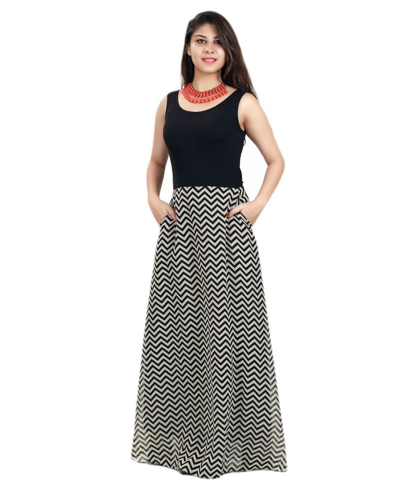 a89cfa9c12a7 Lady Stark Black Georgette Maxi Dress - Buy Lady Stark Black Georgette Maxi  Dress Online at Best Prices in India on Snapdeal