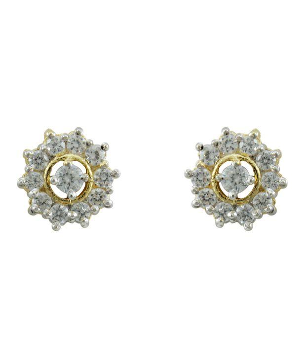 Orniza White Stud Earrings