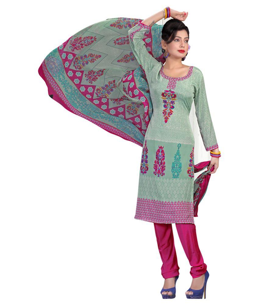 Shelina Turquoise & Pink Italian Crepe Designer Unstitched Salwar Suit