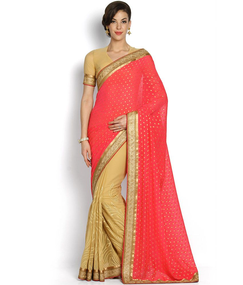 fb241049c2e Soch Red and Beige Georgette Saree - Buy Soch Red and Beige Georgette Saree  Online at Low Price - Snapdeal.com