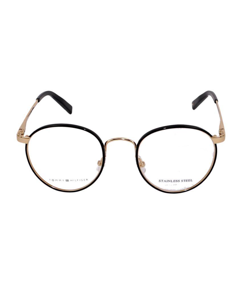 a4c316a48a0 ... Tommy Hilfiger Full Rim Black   Golden Round Frame Eyeglasses for  Unisex ...