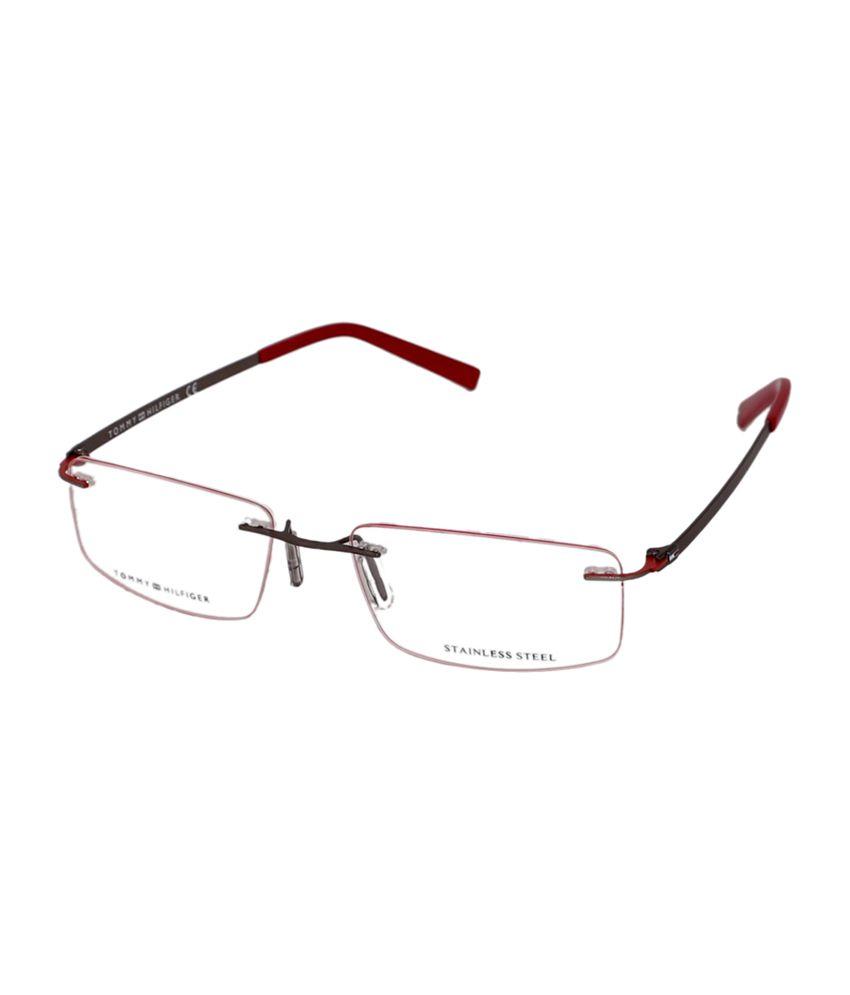 Tommy Hilfiger Rimless Black & Red Rectangle Frame Eyeglasses for ...