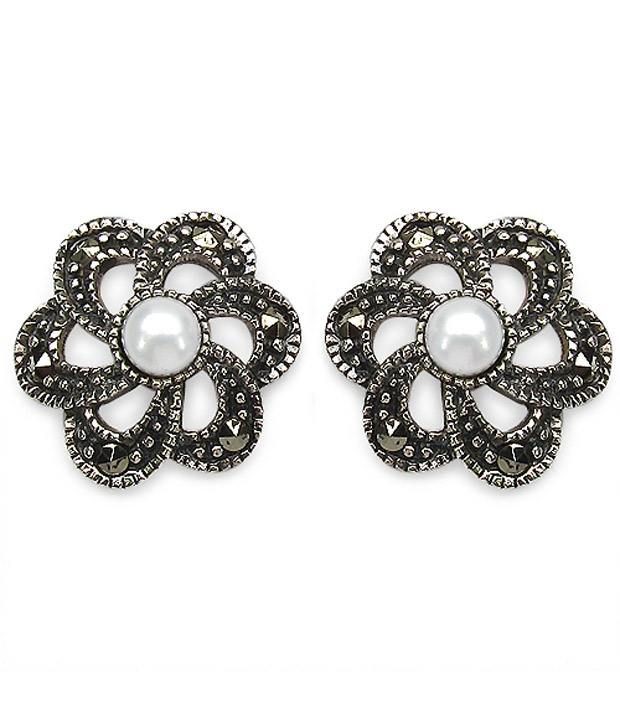 Johareez 92.5 Sterling Silver Designer Stud Earrings