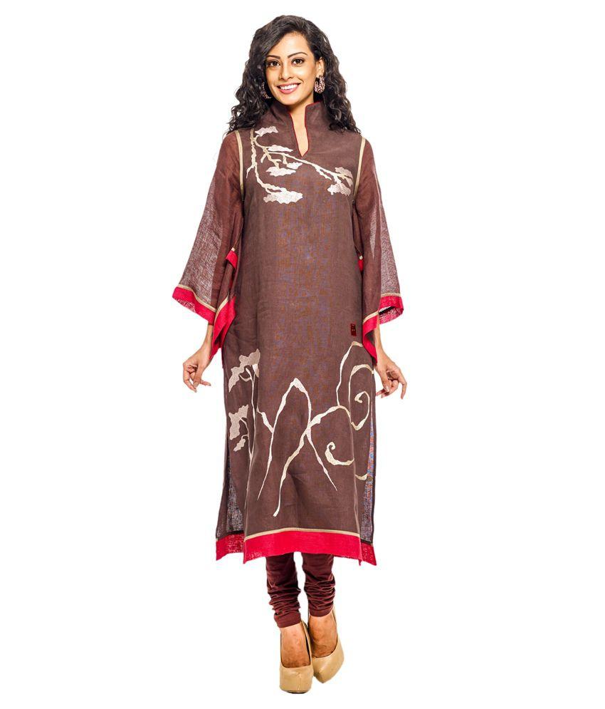 K Clothing Brown Linen Tunics