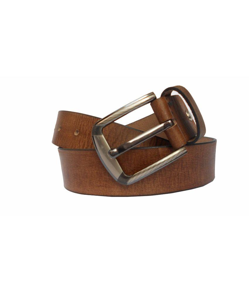 Rocket Market Tan Leather Casual Belt For Men