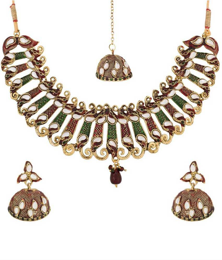 The Luxor Multicolour Alloy Necklace Set With Maang Tika