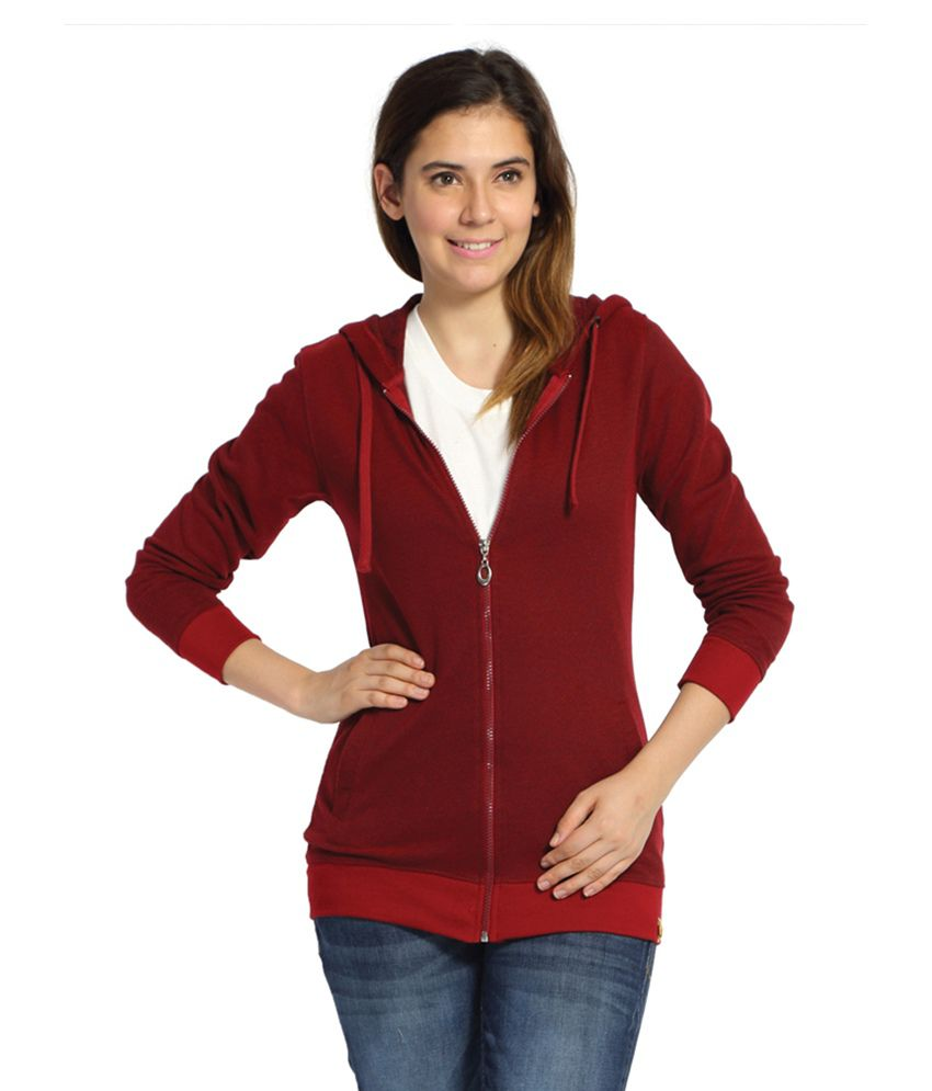 Campus Sutra Maroon Cotton Zippered