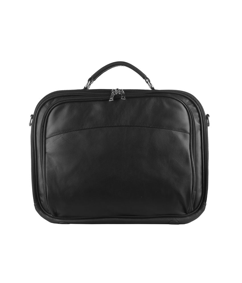 Klasse Genuine Leather Black Laptop Bag