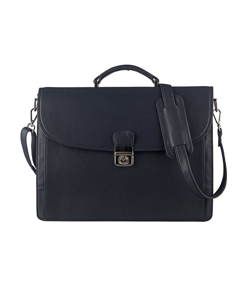 Klasse Genuine Leather Navy Laptop Bag