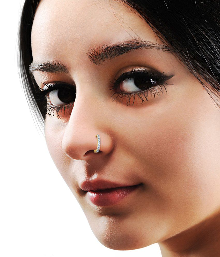 BlueStone 18kt Yellow Gold & Diamond Aureole Nose Ring: Buy ...